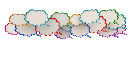 Thought Clouds Open Copy Space Many Blank Bubbles 3d Illustration Stock Photo