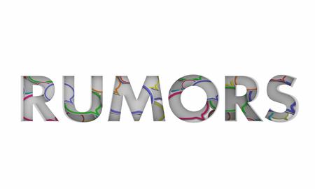 Rumors Speech Clouds Bubbles Gossip Word 3d Illustration