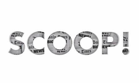 Scoop Word News Headlines Big Announcement 3d Illustration 版權商用圖片