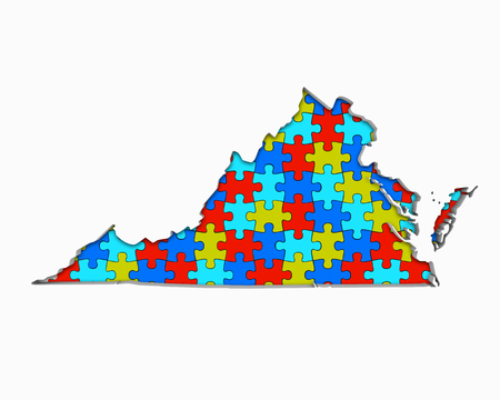 Virginia VA Puzzle Pieces Map Working Together 3d Illustration