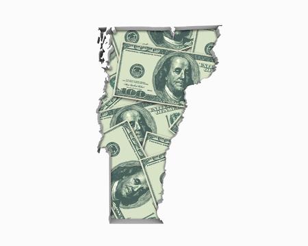 Vermont VT Money Map Cash Economy Dollars 3d Illustration
