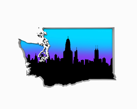 Washington WA Skyline City Metropolitan Area Nightlife 3d Illustration