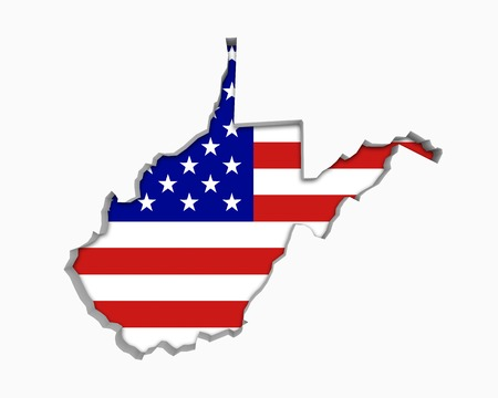 West Virginia WV USA Flag Stars Stripes Map 3d Illustration