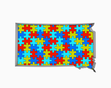 South Dakota SD Puzzle Pieces Map Working Together 3d Illustration 写真素材 - 99664298