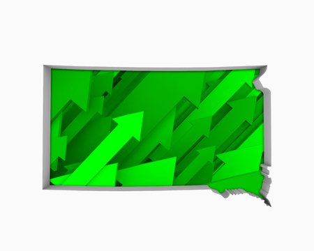 South Dakota SD Arrows Map Growth Increase On Rise 3d Illustration