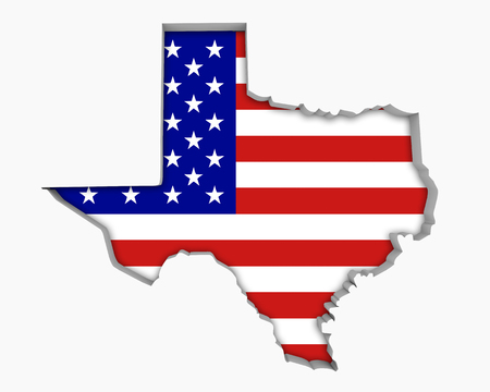 Texas TX USA Flag Stars Stripes Map 3d Illustration