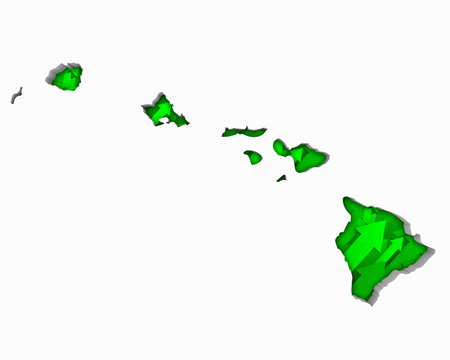 Hawaii HI Arrows Map Growth Increase On Rise 3d Illustration 版權商用圖片 - 99664309