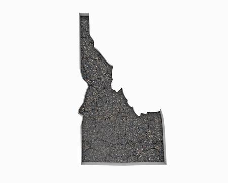 Idaho ID Road Map Pavement Construction Infrastructure 3d Illustration 写真素材