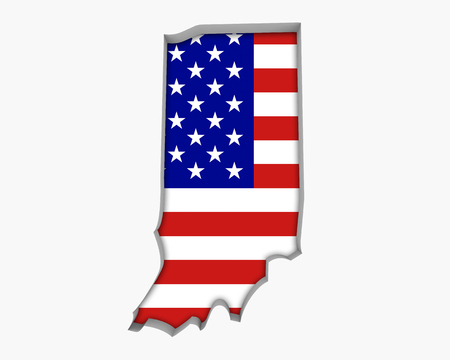 Indiana IN USA Flag Stars Stripes Map 3d Illustration Stock Photo