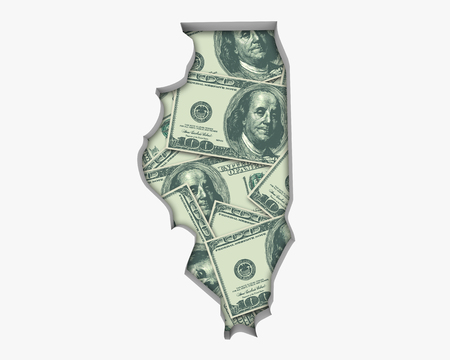 Illinois IL Money Map Cash Economy Dollars 3d Illustration Reklamní fotografie
