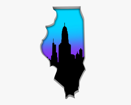 Illinois IL Skyline City Metropolitan Area Nightlife 3d Illustration Stock Photo