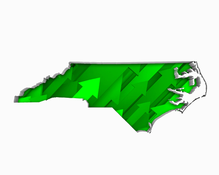 North Carolina NC Arrows Map Growth Increase On Rise 3d Illustration