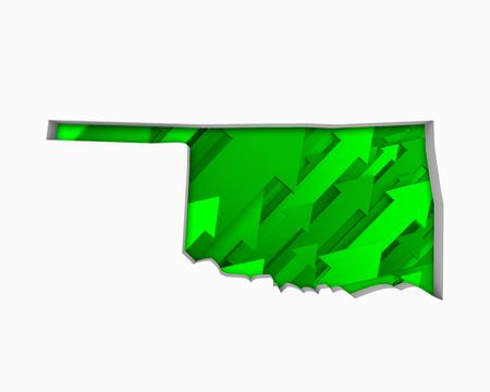 Oklahoma OK Arrows Map Growth Increase On Rise 3d Illustration 版權商用圖片 - 99664327