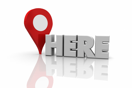 Here Map Pin Location Navigation Word 3d Illustration Stock Photo