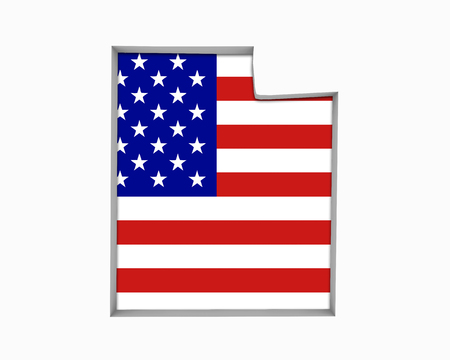 Utah UT USA Flag Stars Stripes Map 3d Illustration