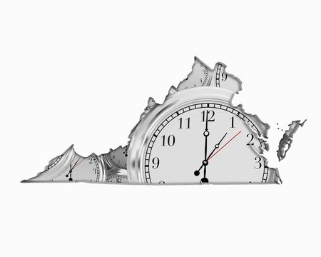 Virginia VA Clock Time Passing Forward Future 3d Illustration Stock Photo