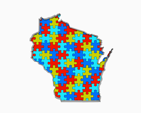 Wisconsin WI Puzzle Pieces Map Working Together 3d Illustration 写真素材