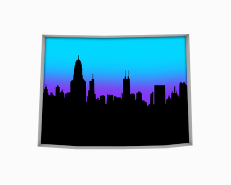 Wyoming WY Skyline City Metropolitan Area Nightlife 3d Illustration 스톡 콘텐츠