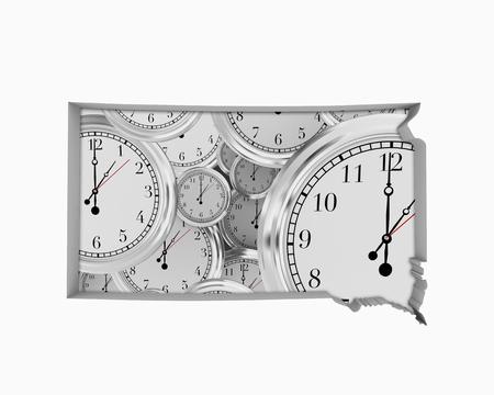 South Dakota SD Clock Time Passing Forward Future 3d Illustration