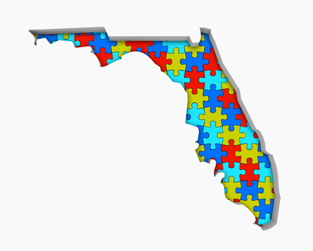 Florida FL Puzzle Pieces Map Working Together 3d Illustration