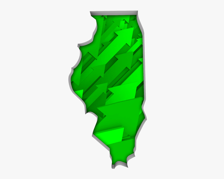 Illinois IL Arrows Map Growth Increase On Rise 3d Illustration 版權商用圖片