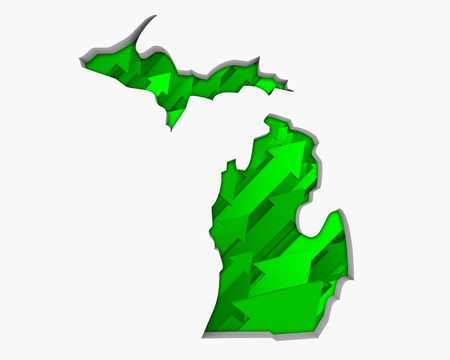 Michigan MI Arrows Map Growth Increase On Rise 3d Illustration