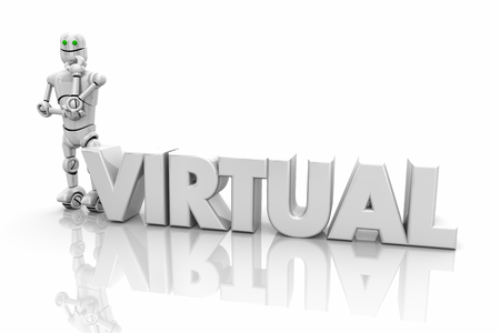 Virtual Robot Science Technology Word 3d Illustration Stock Photo