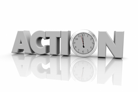 Action Clock Time to Act Now Word 3d Illustration Stock fotó