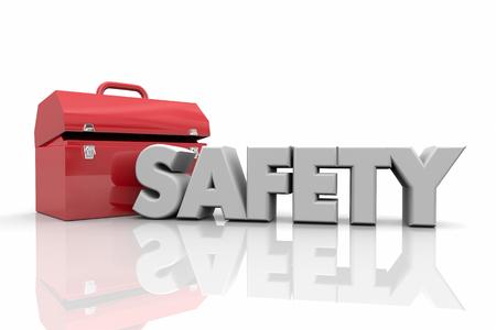 Safety Tools Toolbox Resources Word 3d Illustration 版權商用圖片