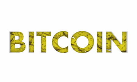 Bitcoin Cryptocurrency Gold Coins Word 3d Illustration Zdjęcie Seryjne