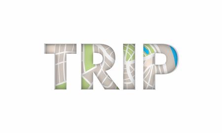Trip Road Map Travel Tourism Word 3d Illustration 写真素材