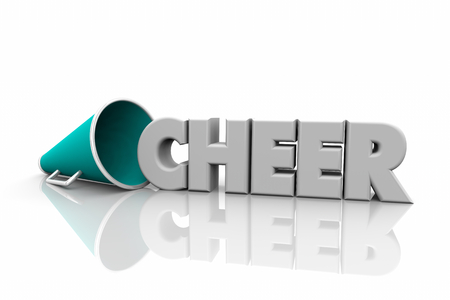 Cheer Megaphone Bullhorn Word 3d Illustration Stock Photo