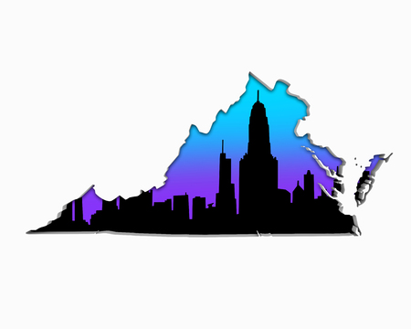 Virginia VA Skyline City Metropolitan Area Nightlife 3d Illustration Фото со стока