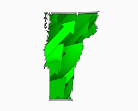 Vermont VT Arrows Map Growth Increase On Rise 3d Illustration