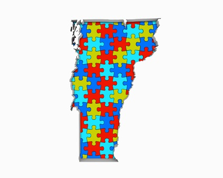 Vermont VT Puzzle Pieces Map Working Together 3d Illustration Banque d'images - 99839715