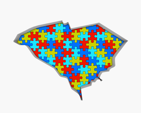 South Carolina SC Puzzle Pieces Map Working Together 3d Illustration 写真素材