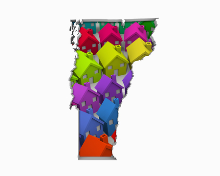 Vermont VT Homes Homes Map Nieuwe ontwikkeling van onroerend goed 3d illustratie