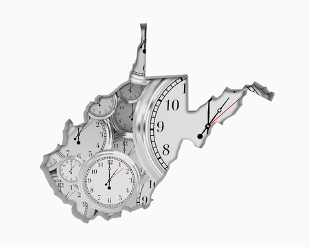 West Virginia WV Clock Time Passing Forward Future 3d Illustration