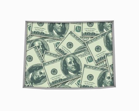 와이오밍 와이오밍 돈지도 현금 경제 달러 3d 일러스트 스톡 콘텐츠 - 99902414