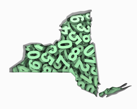 New York NY Map Numbers Math Figures Economy 3d Illustration