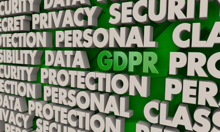 GDPR Data Privacy Protection Word Collage 3d Illustration