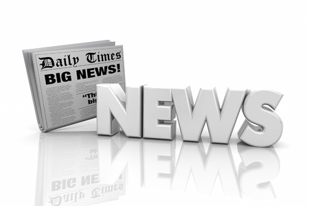 News Headlines Articles Announcement Word 3d Illustration 版權商用圖片