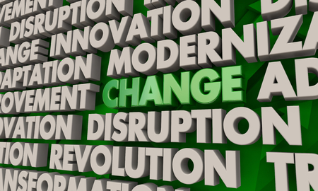 Change Innovation Disruption Transformation Word Collage 3d Illustration Banco de Imagens