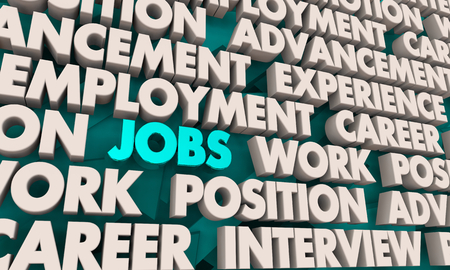 Jobs Work Career Experience Word Collage 3d Illustration