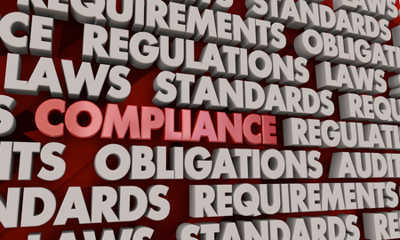 Compliance Regulation Rules Compliant Word Collage 3d Illustration