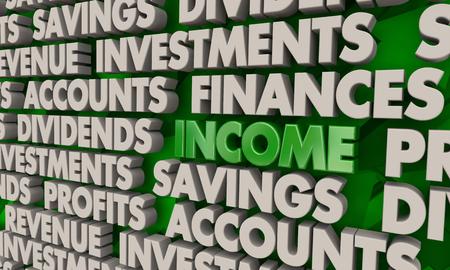 Income Revenue Earnings Make Money Word Collage 3d Illustration Reklamní fotografie