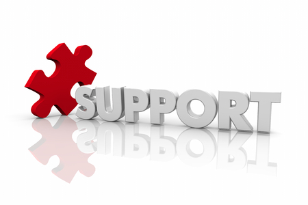 Support Puzzle Piece Help Assistance Word 3d Illustration Фото со стока
