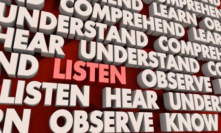 Listen Hear Observe Understand Word Collage 3d Illustration