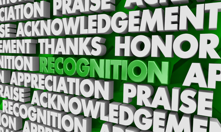 Recognition Appreciation Thanks Word Collage 3d Illustration