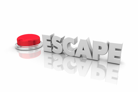 Escape Round Red Button Get Out Now Safety Word 3d Illustration Stockfoto
